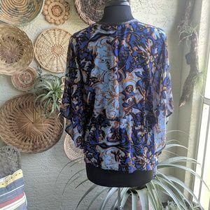 Alberto Makali Tops - Alberto Makali S sheer boho print poncho tunic top